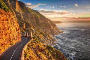 road, coast, cliff