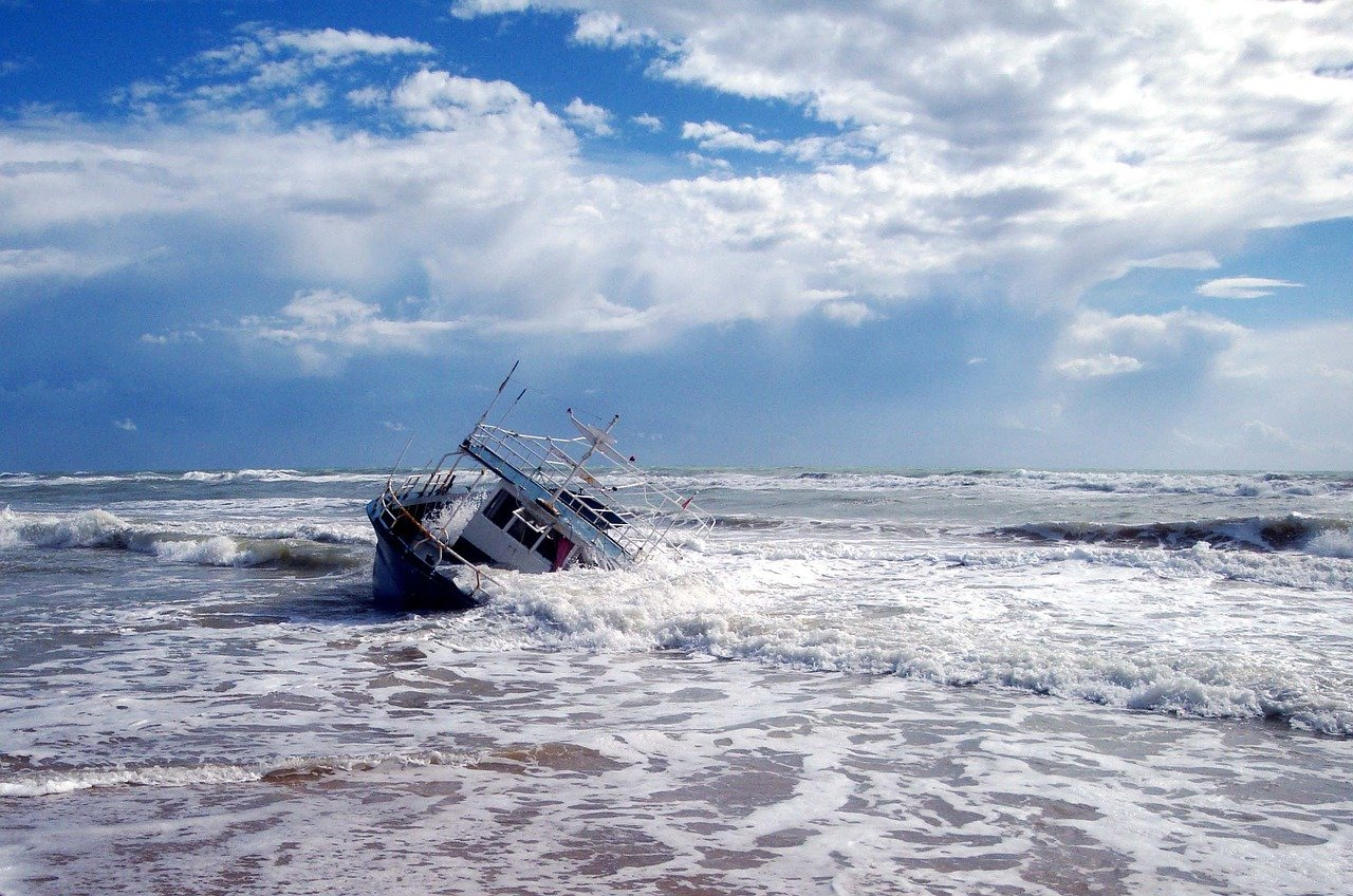 ship, beach, sea
